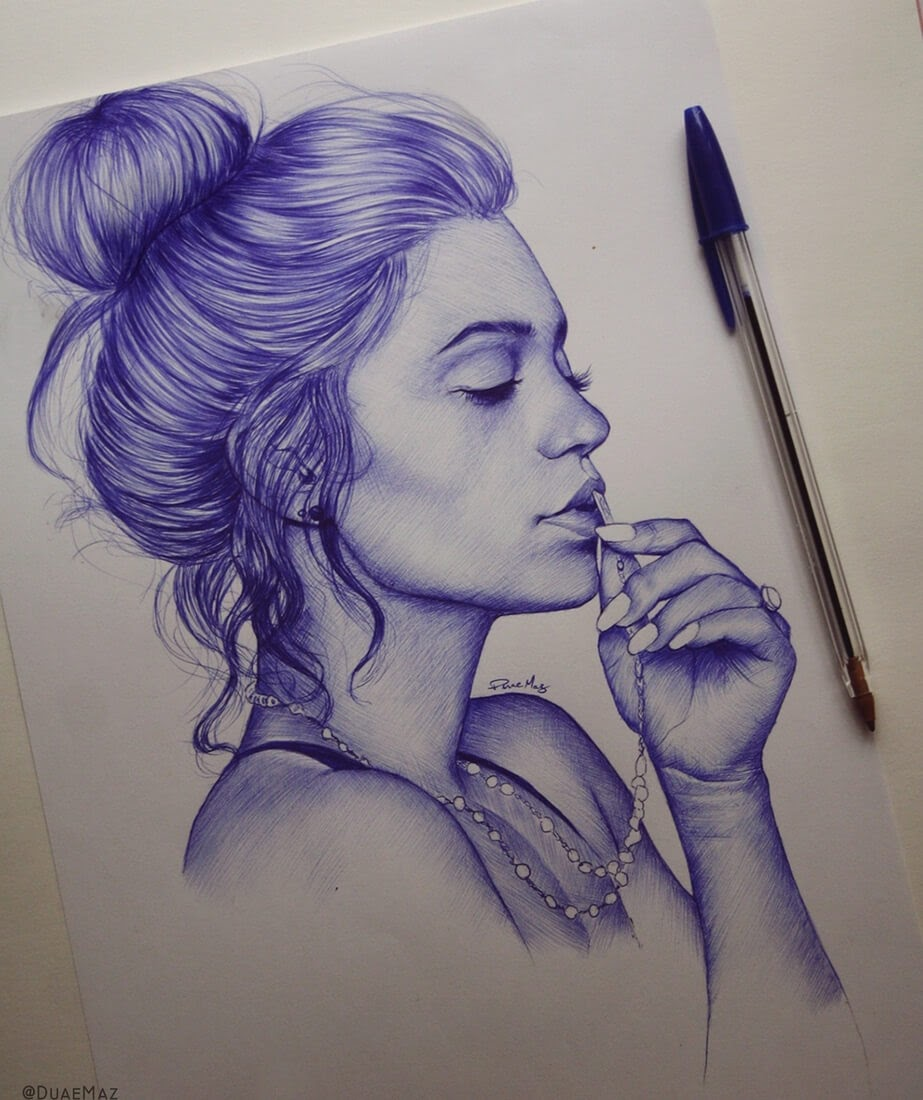06-Duae-Maz-Blue-and-Black-Ballpoint-Pen-Portraits-www-designstack-co