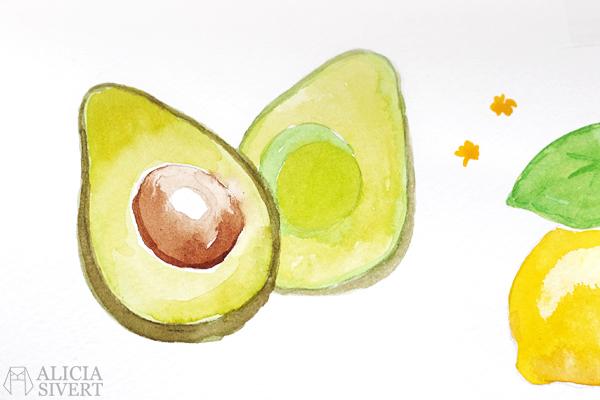 aliciasivert alicia sivert alicia sivertsson avocado avokado måla måleri akvarell vattenfärg aquarelle watercolour watercolor water colour color paint painting