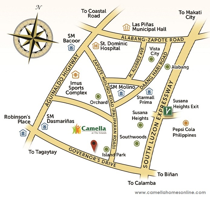Vicinity Map Location Gavina - Camella Belize | Crown Asia Prime House for Sale Dasmarinas Cavite