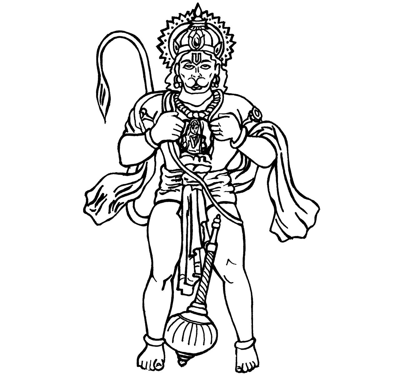 Lord Hanuman Coloring Drawing Free Wallpaper Anggela Coloring Book For Free