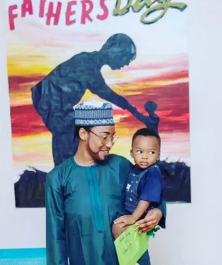 Photos: Actress Tonto Dikeh dresses up as her estranged husband to attend Father's day at her son's school