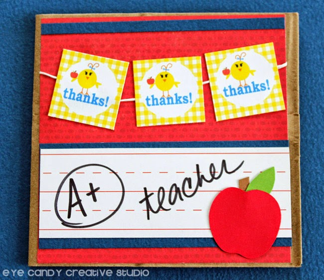 thank a teacher, school, gingham, lil chick, teacher gifts, how to make a card