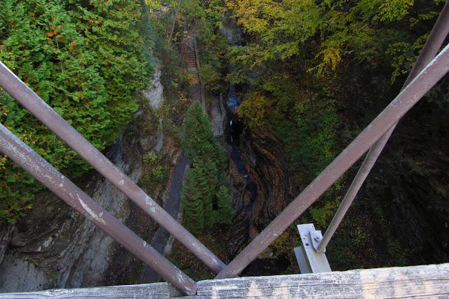 view from the suspension bridge over Watkins Glen
