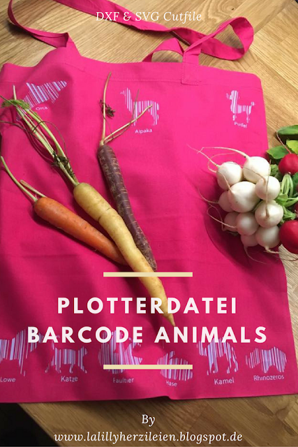 """löwe, Katze, Faultie, Hase, Kamel und Rhinozeros im Barcodestil. Plottergrafike """"Barcode Animals"""" Beispiel von Frinali"""