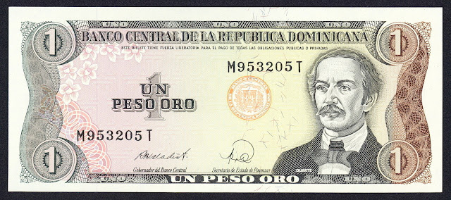 Dominican Republic currency 1 Peso Oro banknote 1988 Juan Pablo Duarte