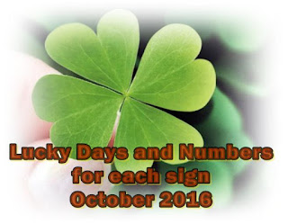 Lucky Days and Numbers for each sign for October 2016