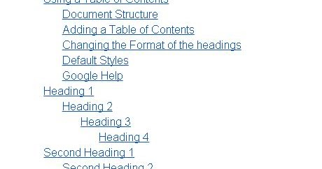 Table of contents in google docs ilearn bisp for Table of contents google docs