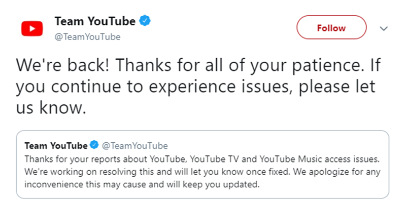 YouTube is back!