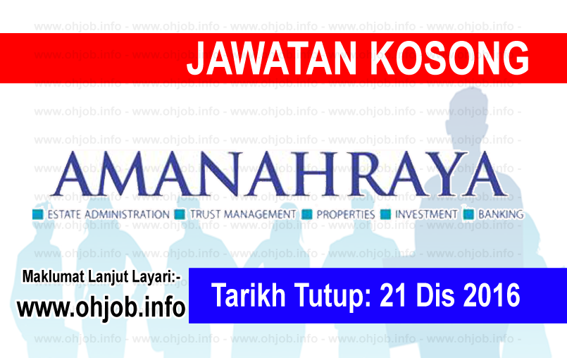 Jawatan Kerja Kosong Amanah Raya Berhad (ARB) logo www.ohjob.info disember 2016