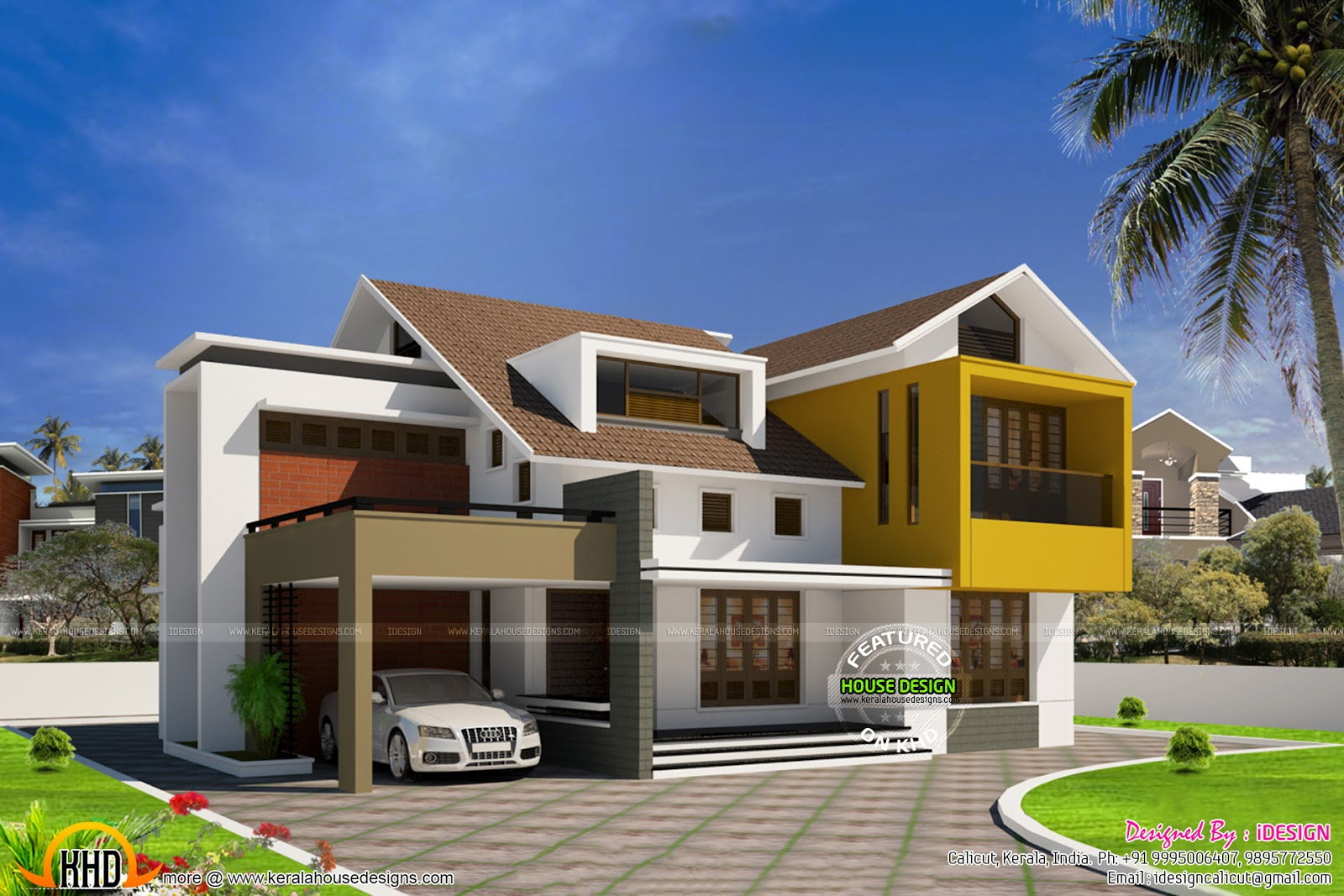 Front Elevation Of Villas In Kerala : Modern minimalist villa in kerala home design and