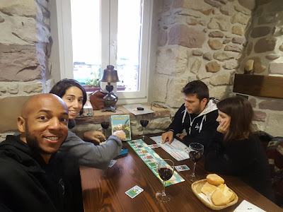 Tim and friends playing games in restaurant
