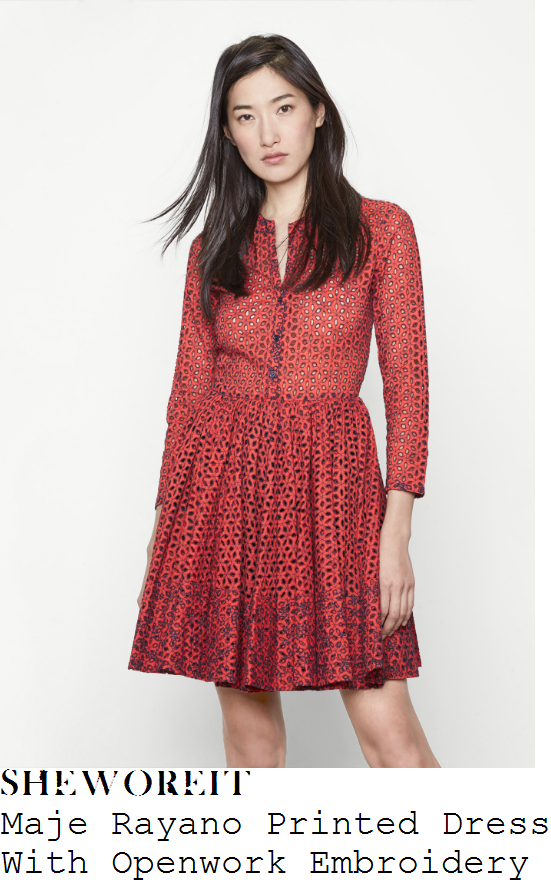 lisa-snowdon-maje-rayano-red-and-navy-blue-sheer-embroidered-floral-broderie-anglaise-three-quarter-sleeve-button-up-high-waisted-pleated-a-line-dress