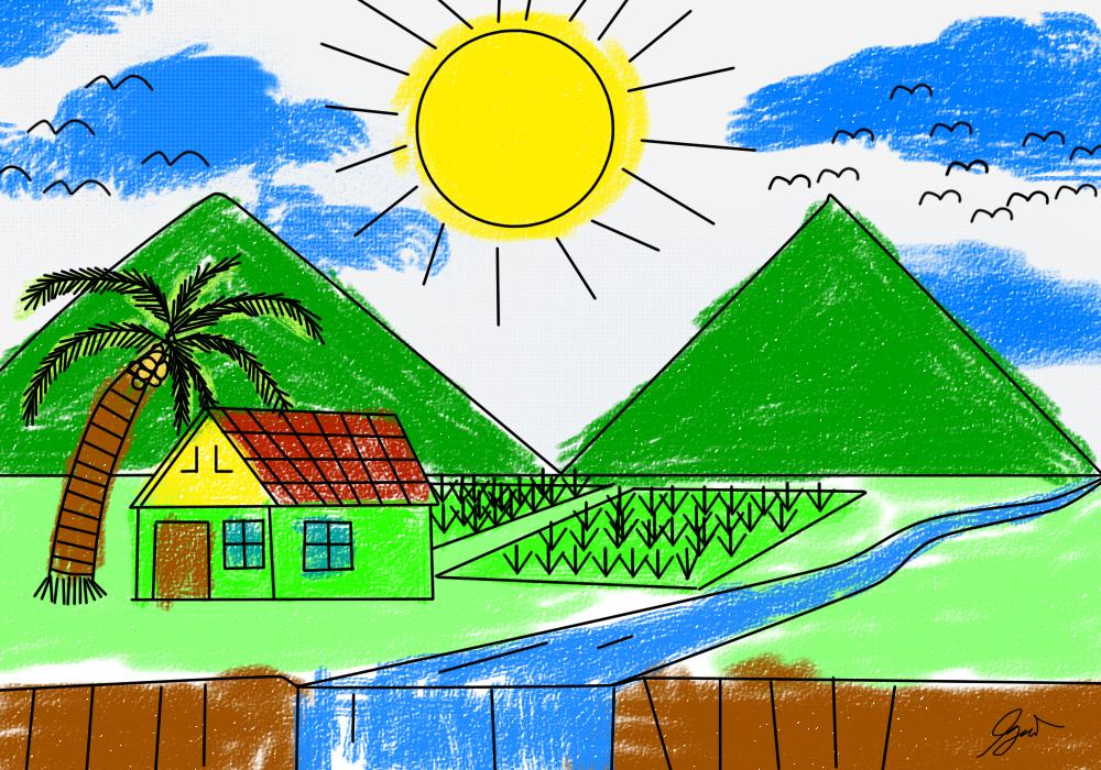 Gambar Pemandangan Anak Sd Kelas 1 - Gambar Bagus