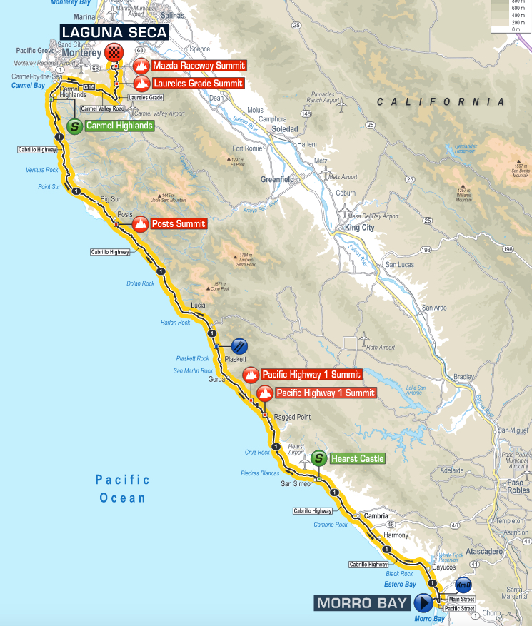 Hearst Castle California Map.Stage Route And Maps Tour Of California 2016 Pedal Dancer