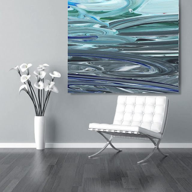 Blue and Gray abstract art