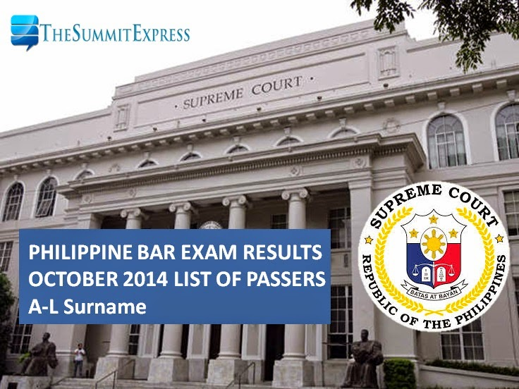 2014 Philippine bar exam A-L Alphabetical List of Passers