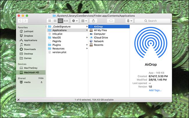 funzioni Airdrop di Finder