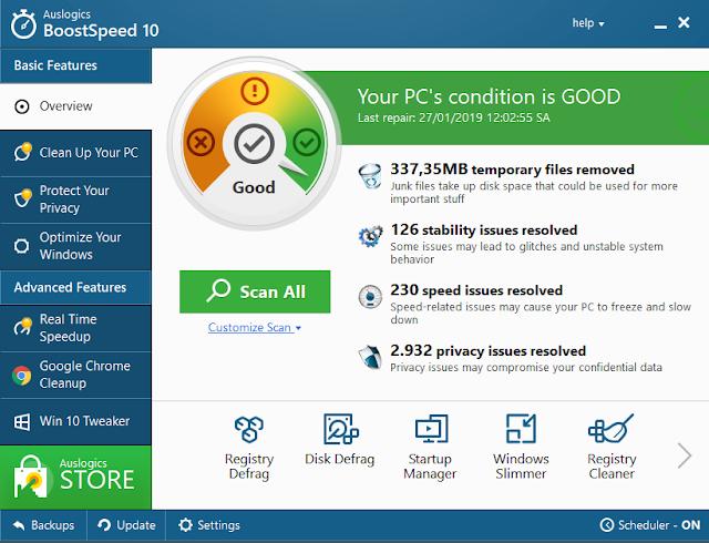 Chia sẻ key Auslogics BoostSpeed 10.0.22.0-2019 - Phần mềm tối ưu tăng tốc hiệu suất máy tính hàng đầu