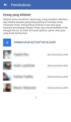 Batalkan Blokir di aplikasi Facebook