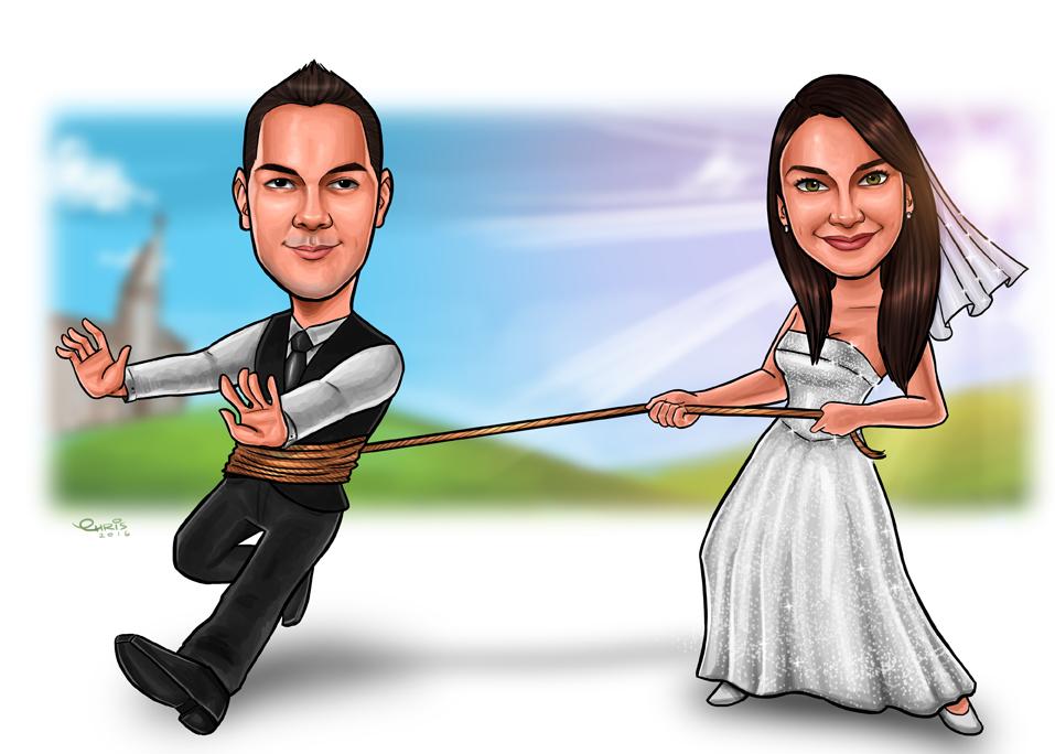 caricatura de casamento são paulo sp