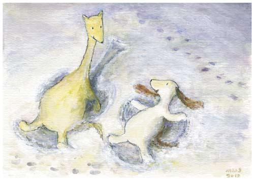 Postcard illustration of Hulmu Hukka and Haukku Spaniel making snow angels in a winter evening