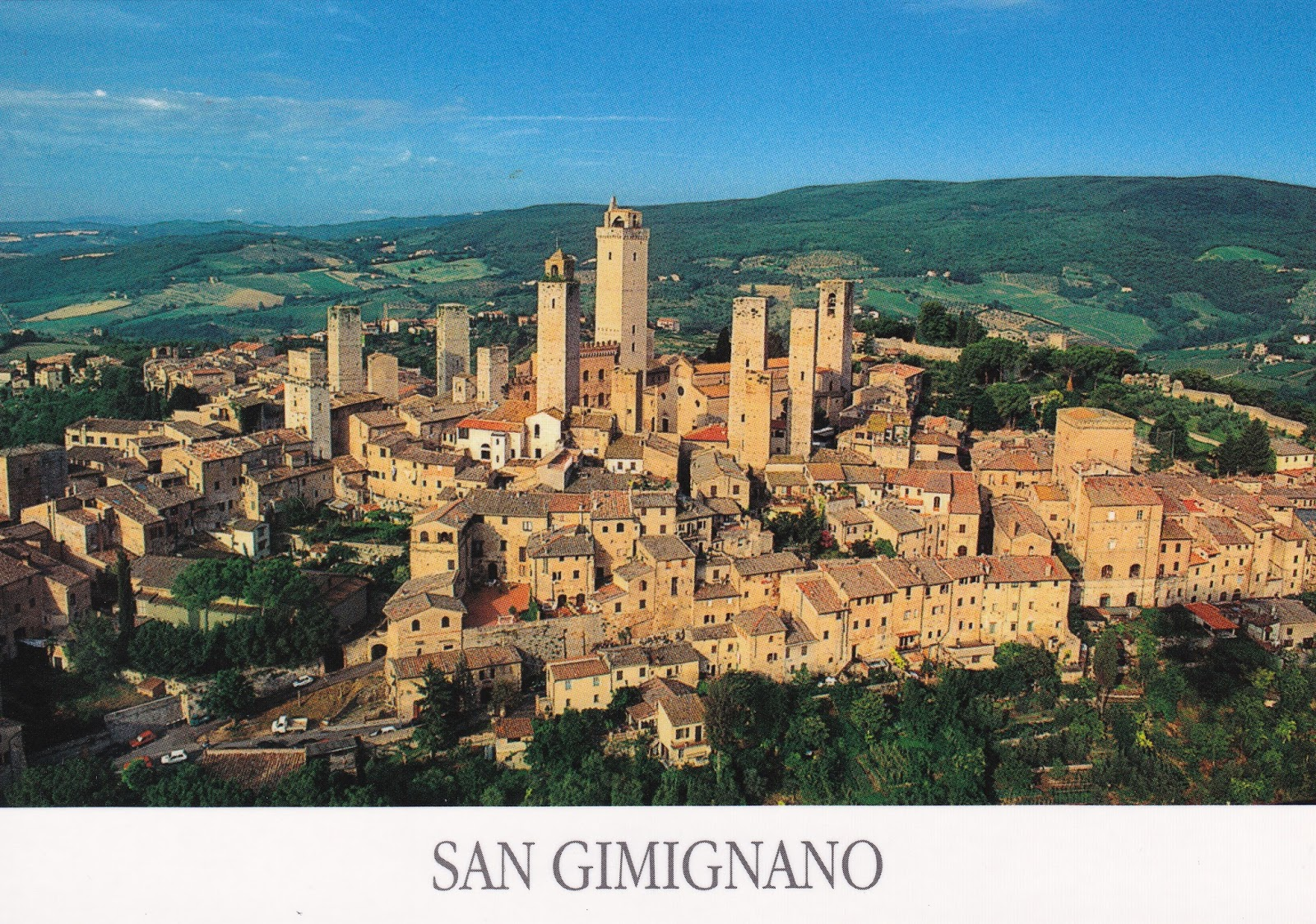 jazz stamps postcard 320 san gimignano italy unesco. Black Bedroom Furniture Sets. Home Design Ideas