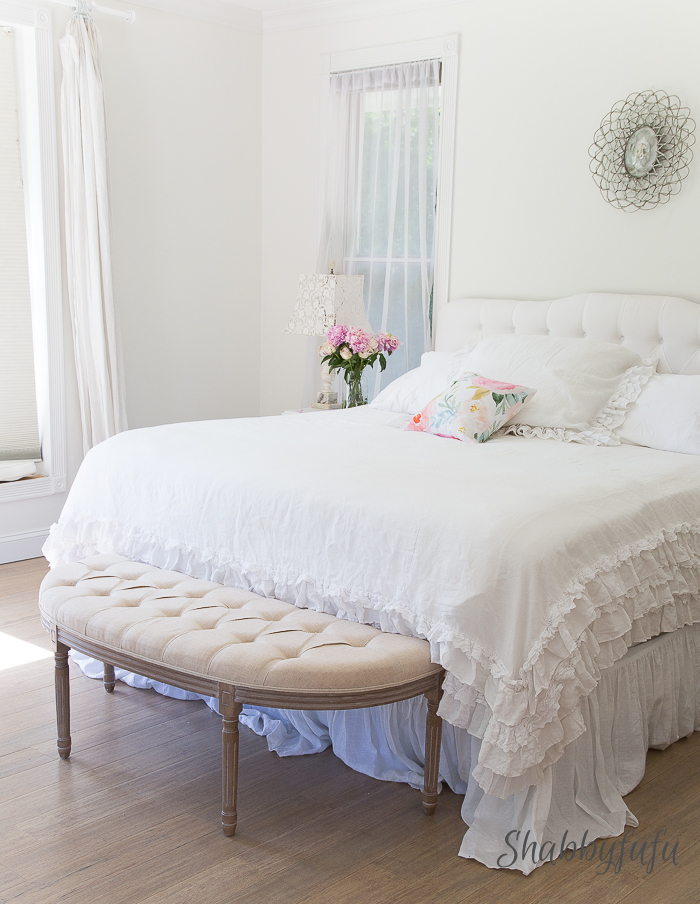 white bedroom ruffled bedding