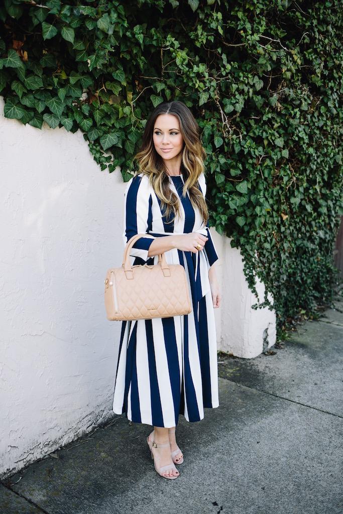 KBStyled: vera bradley handbag nude bag nude heels stripes