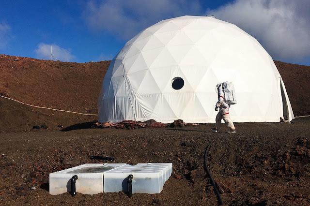 cúpula que simula base em Marte