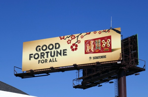 Good fortune Scratchers Year dog billboard