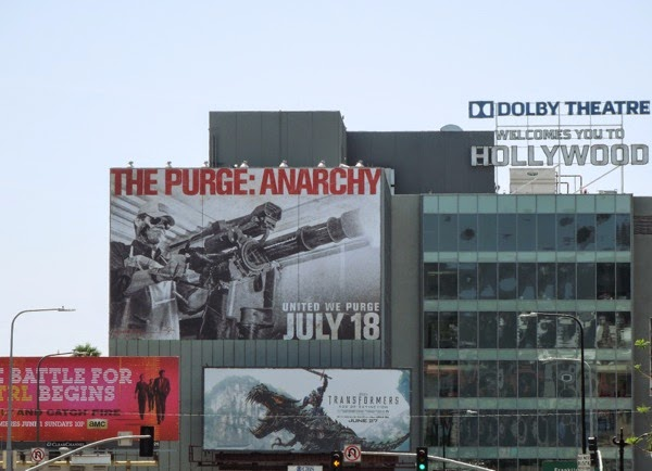 Giant The Purge: Anarchy movie billboard Hollywood