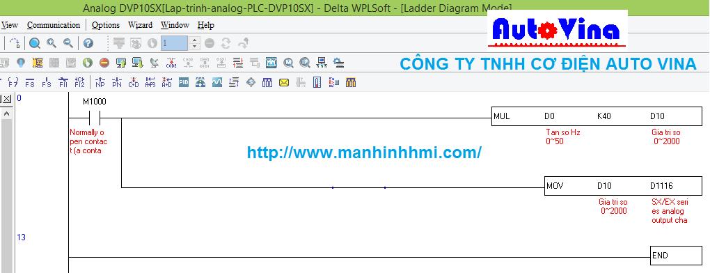 Hướng dẫn lập trình analog PLC Delta tiếng Việt DVP10SX11R