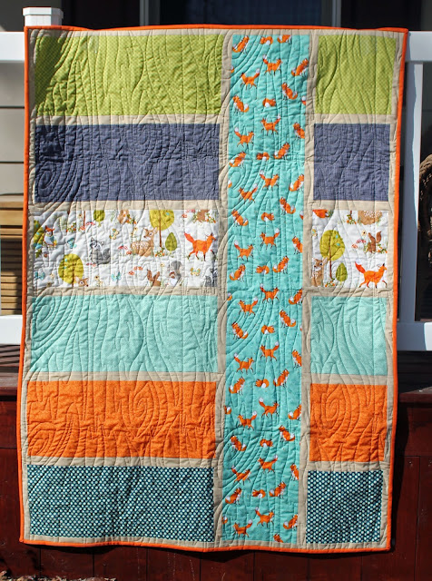 Colorblock baby boy quilt with fox fabric