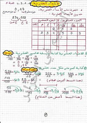 حلول تمارين الكتاب المدرسي مجال الأعداد العشرية السنة الخامسة إبتدائي