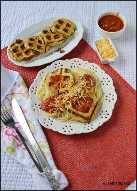 Waffled Eggplant with Spaghetti