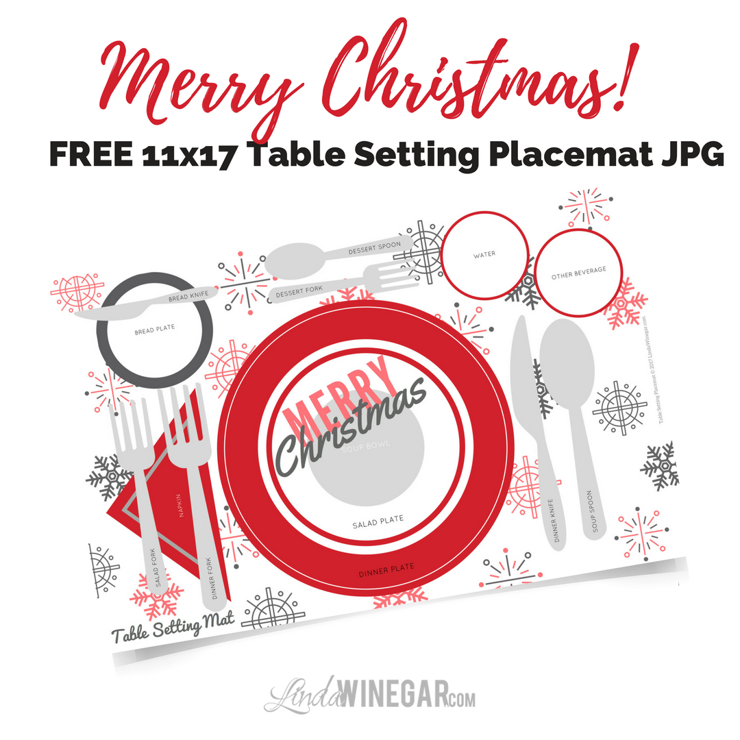 FREE Christmas Table Setting Placemat 11x17 - Linda Winegar