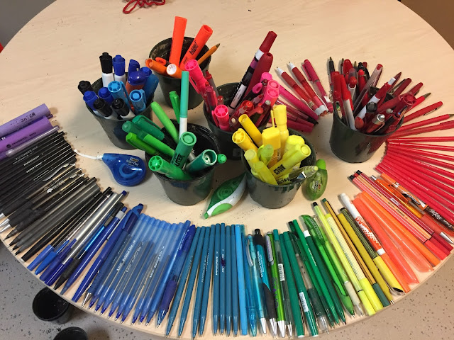 Pens sorted by colour at the uOttawa Pen Recycling Program