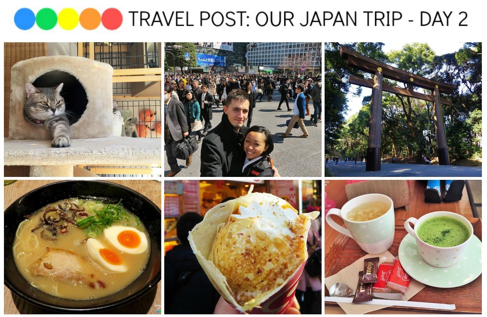 Travel Post: Our Japan Trip - Day 2 (Hapineko Cat Cafe, Shibuya Crossing, Kiddy Land, Takeshita Dori Street, SweetBox Crepes, Meiji Jingu, self-order Ramen)