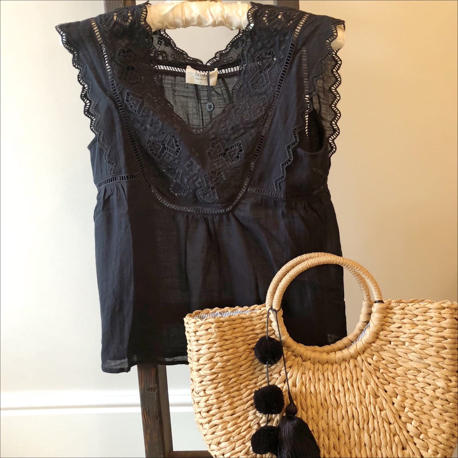my midlife fashion, hush homewear, hush lace cut out top, hush st barts bag