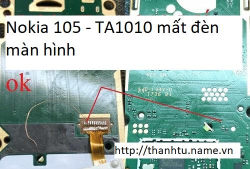Nokia 105 - TA-1010 mất đèn màn hình