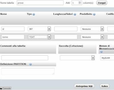 Aggiungere nuovi campi tabella phpMyAdmin