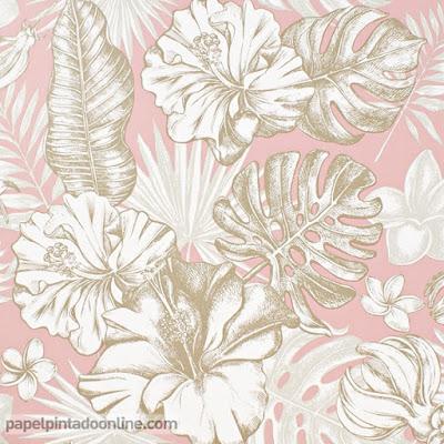 papel de pared con fondo rosa y hojas en gama de beige