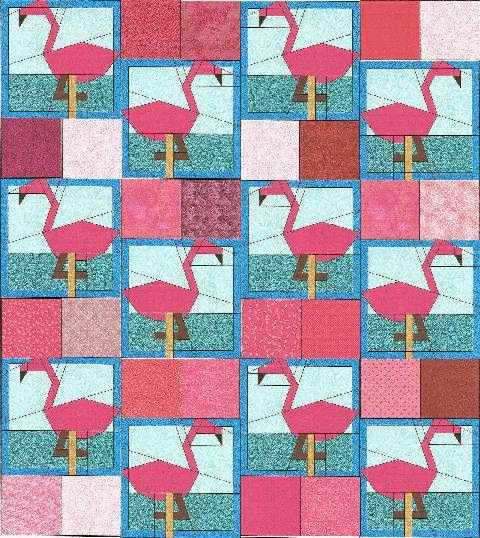 CHQuilts: pink flamingo design