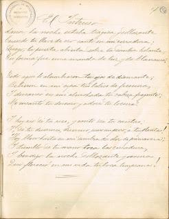 El Intruso .Delmira Agustini. Manuscritos en línea. Biblioteca Nacional.