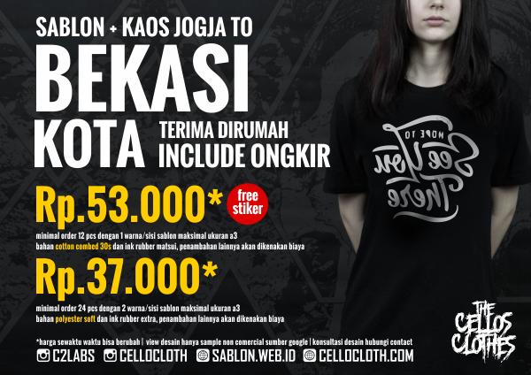 Harga sablon kaos Bekasi Kota dari Jogja include ongkos kirim