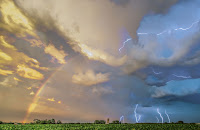 Rainbow and Lightning over Iowa
