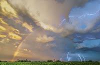 Rainbow and Lightning over Iowa