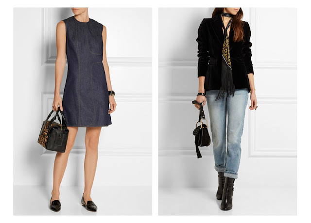 Сумка и шарф с леопардовым принтом в сочетании с платьем из денима и джинсами