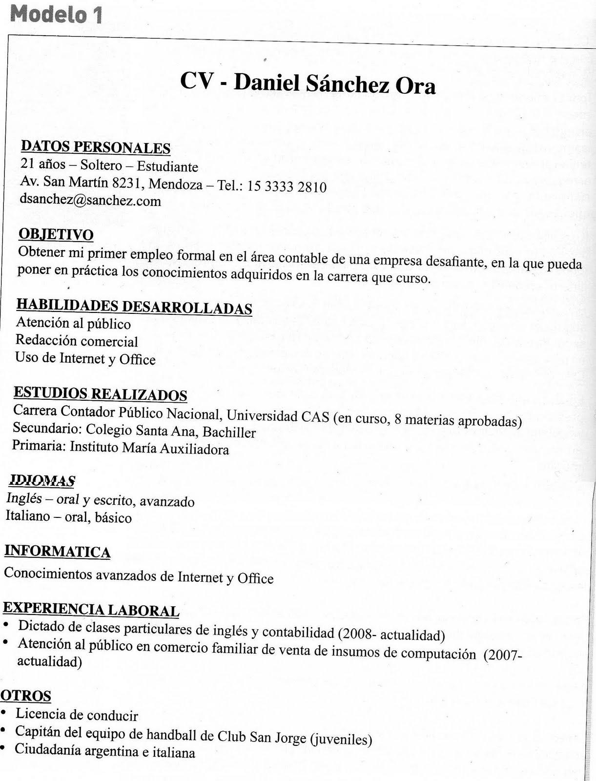 Ejemplo De Curriculum Vitae De Contador Publico En Ingles