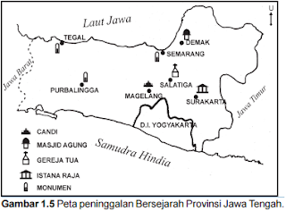 peta peninggalan bersejarah provinsi jawa tengah